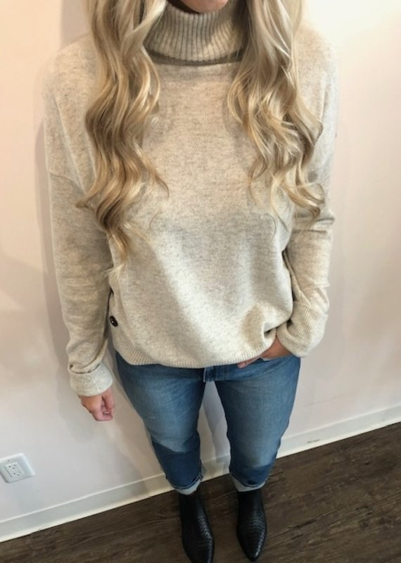 Autumn Cashmere Side Button Mock Sweater
