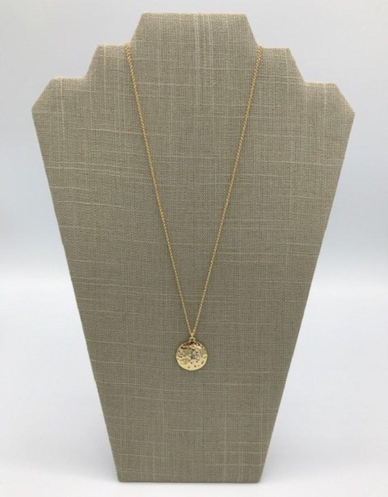 Studio III.XX Long Moon CZ Medallion Necklace