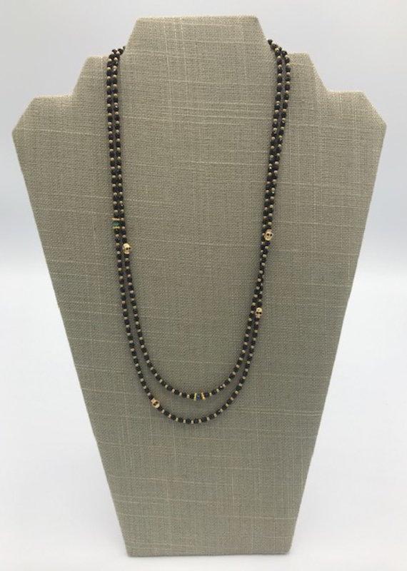 Studio III.XX XLong 3mm Bead Skull Necklace