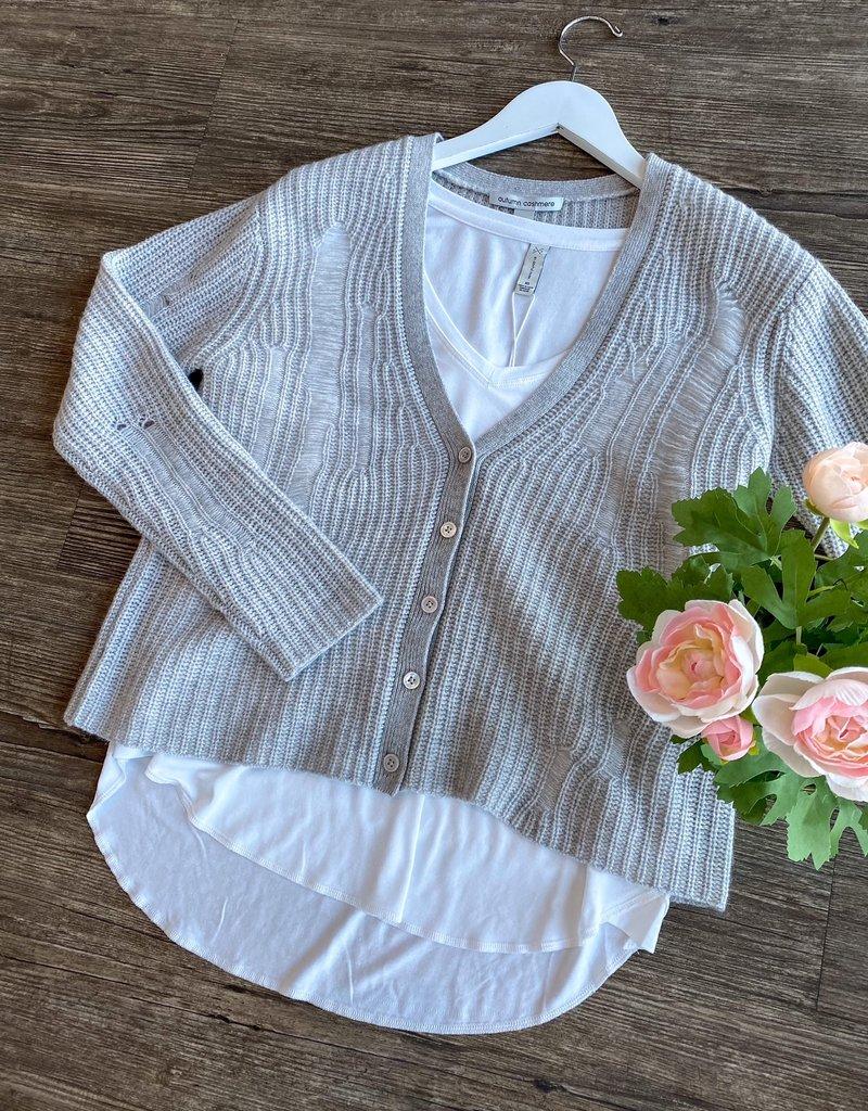 Autumn Cashmere Distressed Button Up Cardi