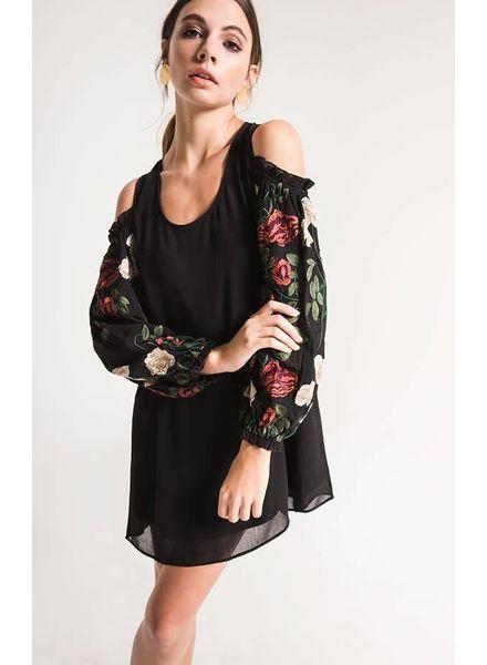 Black Swan Christina Embroidered Cold Shoulder Dress