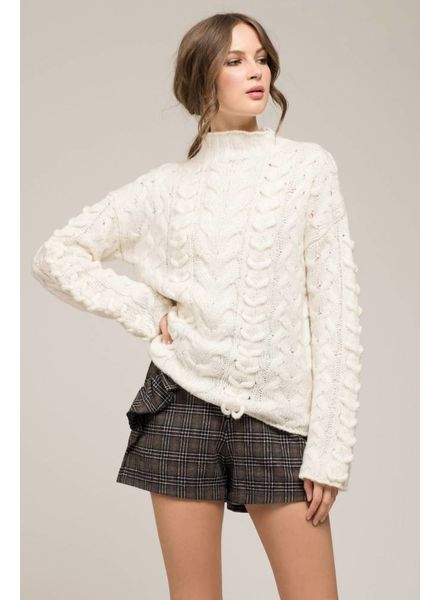 Moon River Moon River High Neck Cable Knit Sweater