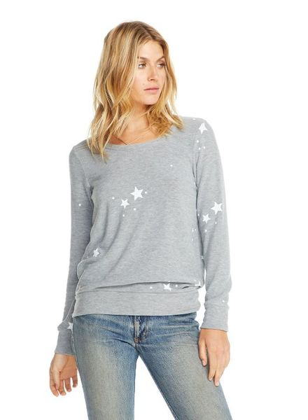 Chaser White Star Cozy Knit Pullover