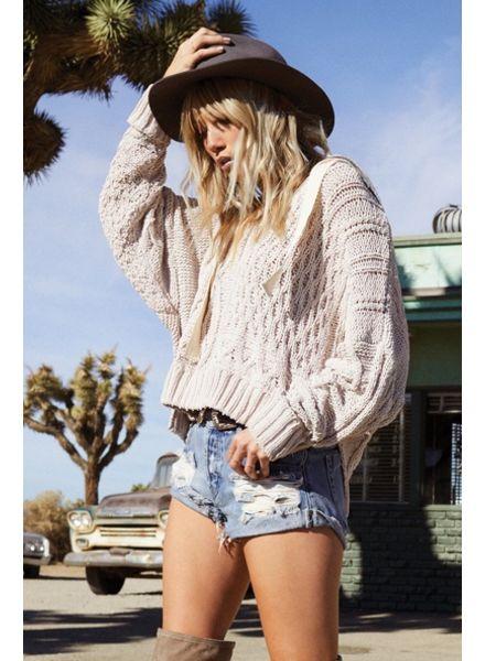 Elan Oversize Knit Sweater with Hood