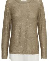 Cream Poppy Sparkle Knit Layered Pullover