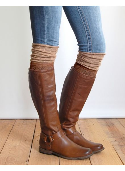 Grace & Lace Grace & Lace Slouch Top Boot Sock Brown/Camel