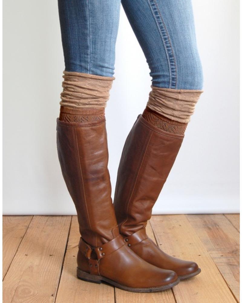 Grace & Lace Grace & Lace Slouch Top Boot Sock Brown/Camel