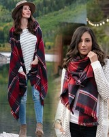 Grace & Lace Grace & Lace Winter Weight Pocket Poncho/Scarf Red/Midnight