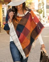 Grace & Lace Grace & Lace Reversible Button Scarf/Poncho Cinnamon Check