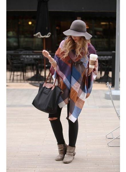 Grace & Lace Grace & Lace Blanket Scarf/Toggle Poncho Multi Colorblock
