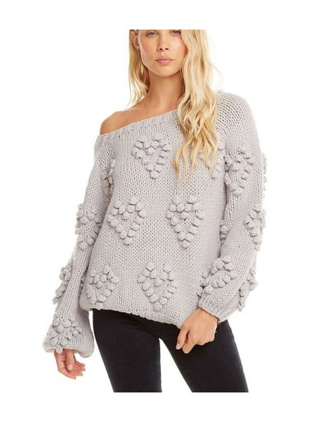 Chaser Heart Stitch Sweater Bishop Sleeve Pullover