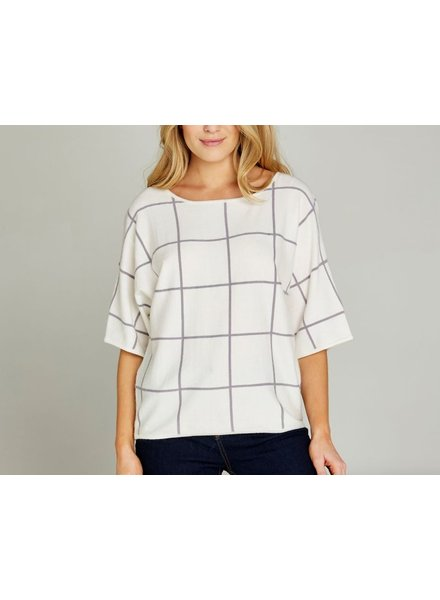 Apricot Apricot Grid Check Oversize Knit Top