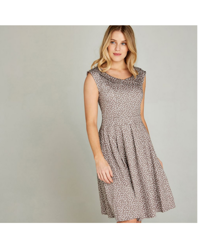 Apricot Apricot Polka Dot Boat Dress