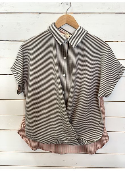 Mystree Mystree Wrap Front Button Down Blouse