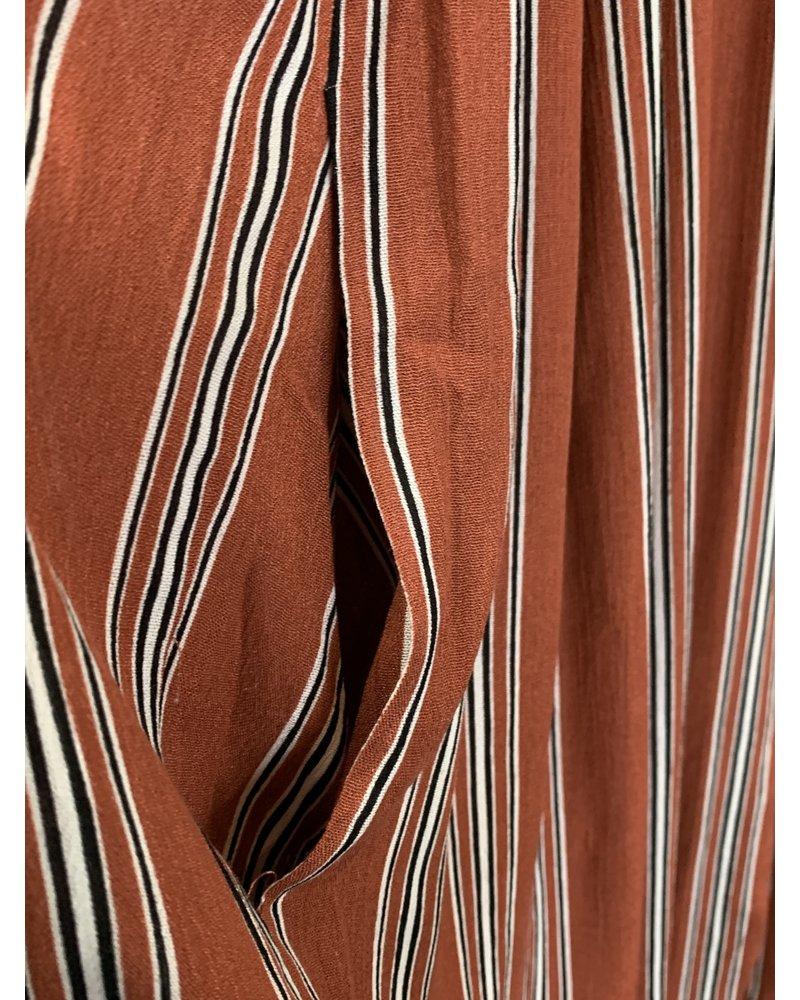 Mystree Mystree Coral Stripe Jumpsuit