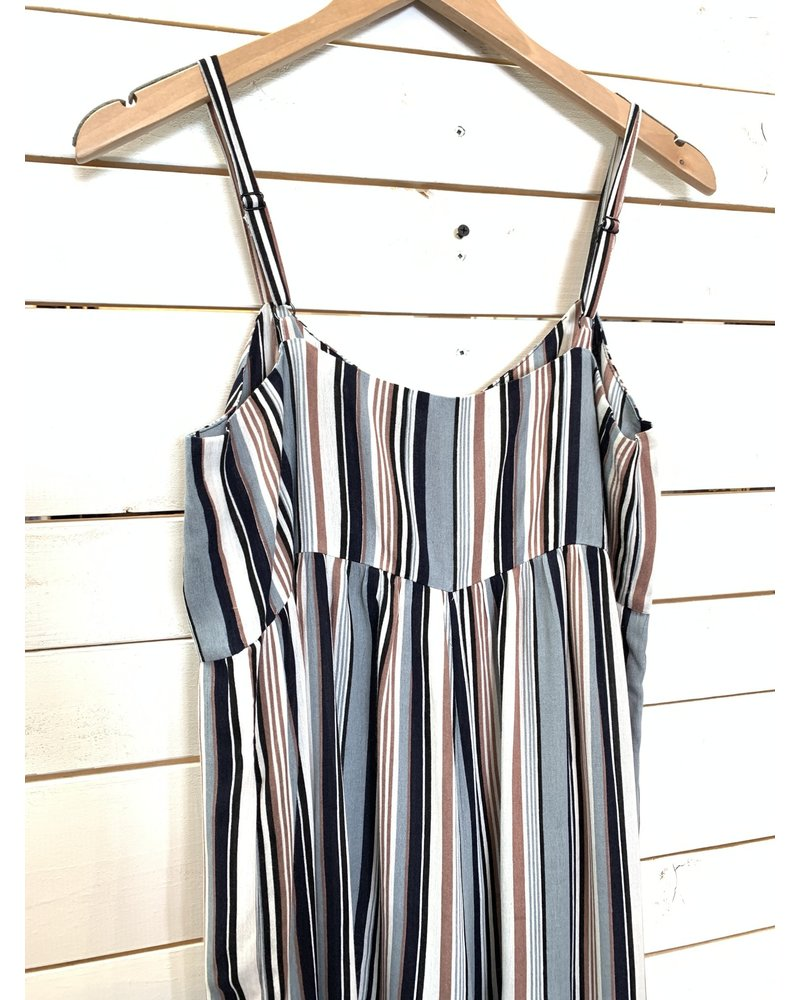Mystree Mystree Stripe Button Down Jumpsuit