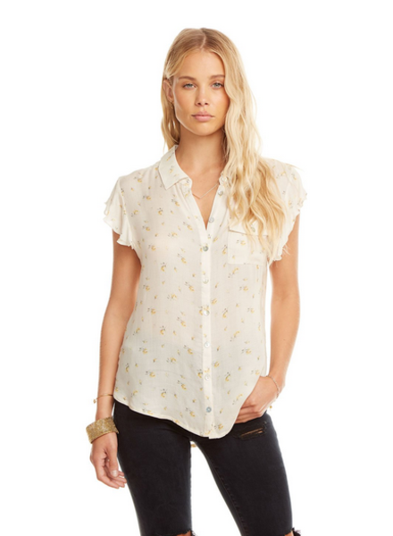 Gauze Flutter Sleeve Button Down