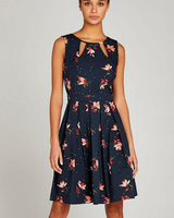 Apricot Floral Cut Out Neck Dress