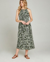 Apricot Abstract Leaf Midi Dress