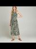 Apricot Abstract Leaf Midi Dress