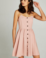 Apricot Button Down Cami Dress
