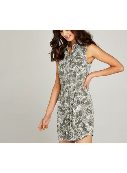 Apricot Tie Waist Leaf Utility Dress