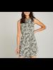 Apricot Tie Waist Leaf Utility Dress
