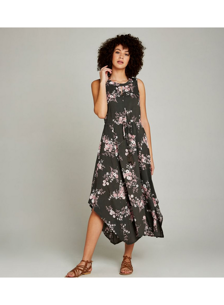 Apricot Floral Ruched Waist Maxi Dress
