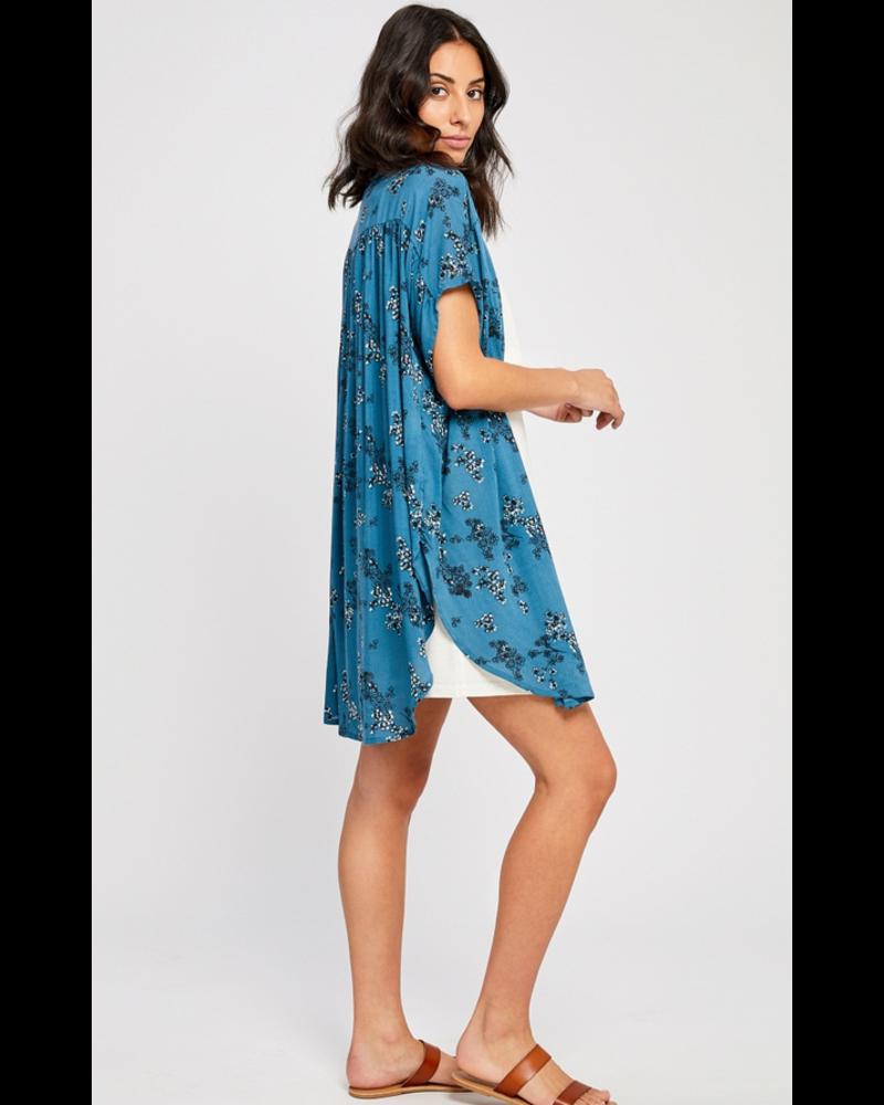 GENTLE FAWN Caleb Kimono O/S Blue Floral