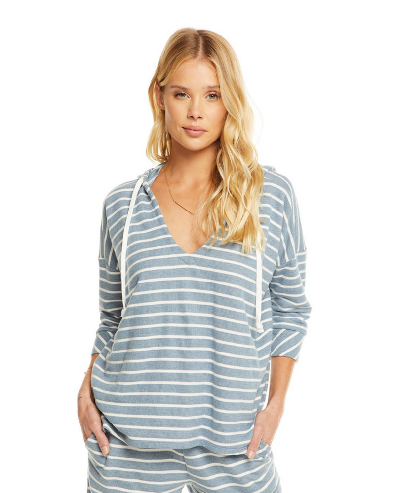 French Terry 3/4 Sleeve Striped Pullover Hoodie