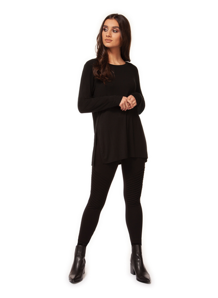 Black Tape Long Sleeve Scoop Neck