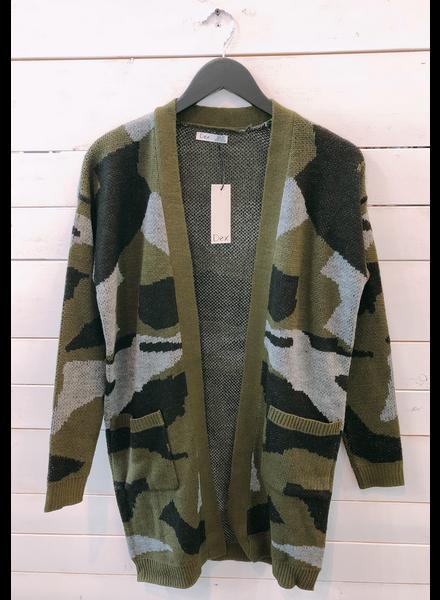Dex Dex Open Cardigan Sweater Camo