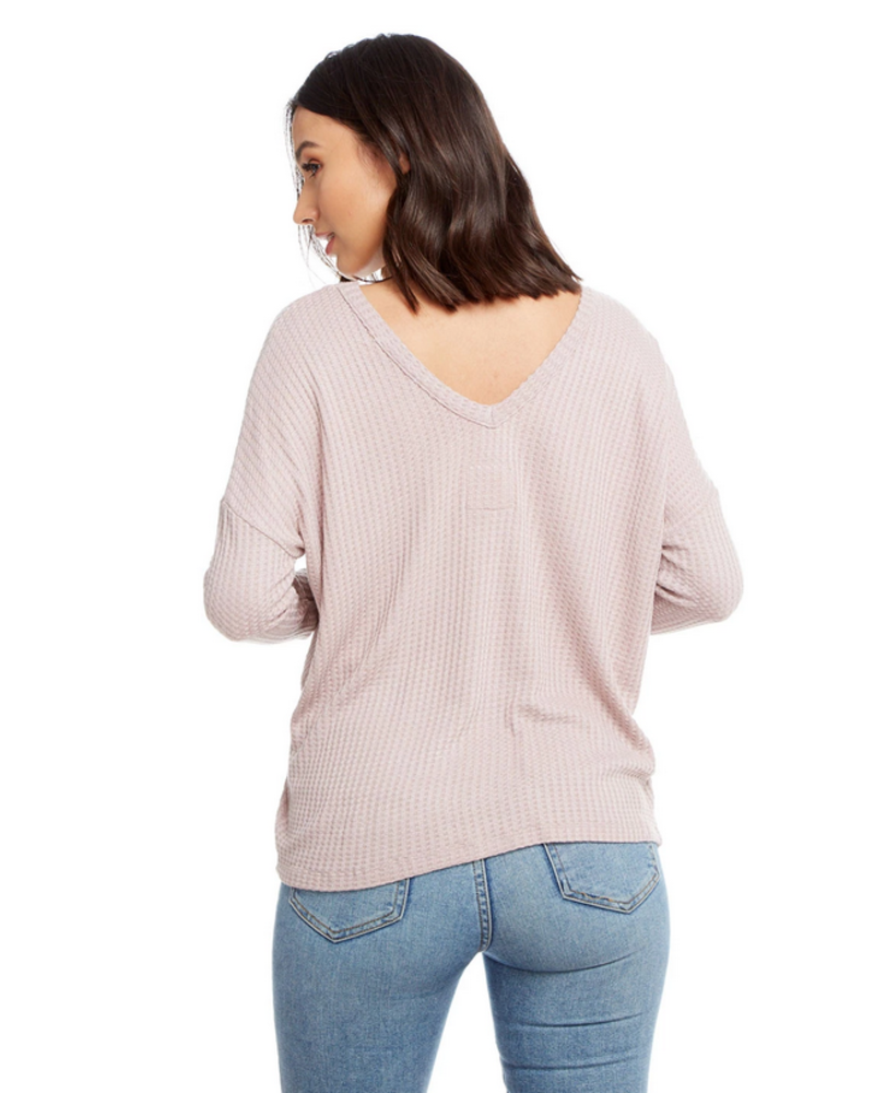 Long Sleeve Thermal Double V Neck