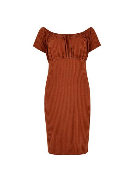 Apricot Milkmaid Bardot Ribbed Dress