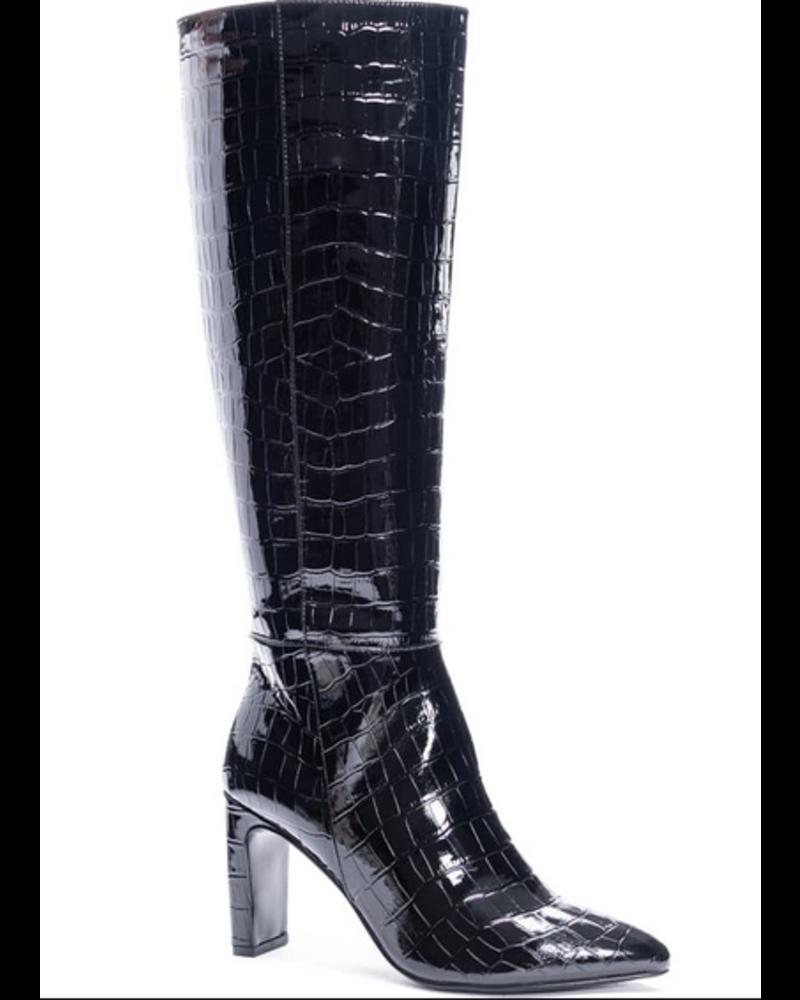 Evanna Shiny Patent Crocodile Boot
