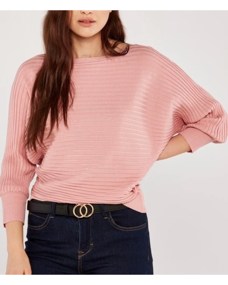 Apricot Ribbed Batwing Sweater
