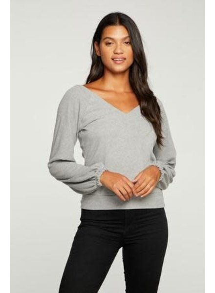 Heather Grey Double V Pullover