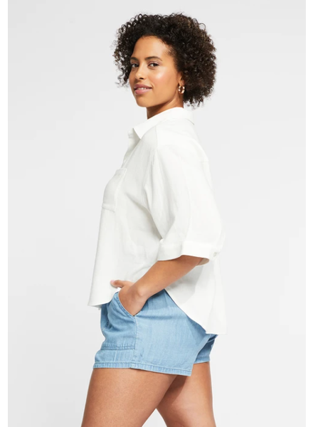 GENTLE FAWN White Linen Button Down Top