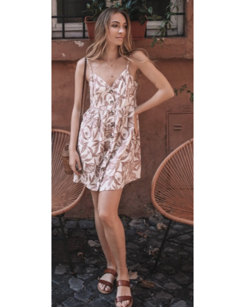 GENTLE FAWN PALM NATURAL FLORAL DRESS