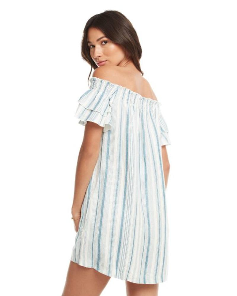 Chaser Beachy Linen Off Shoulder Mini Dress