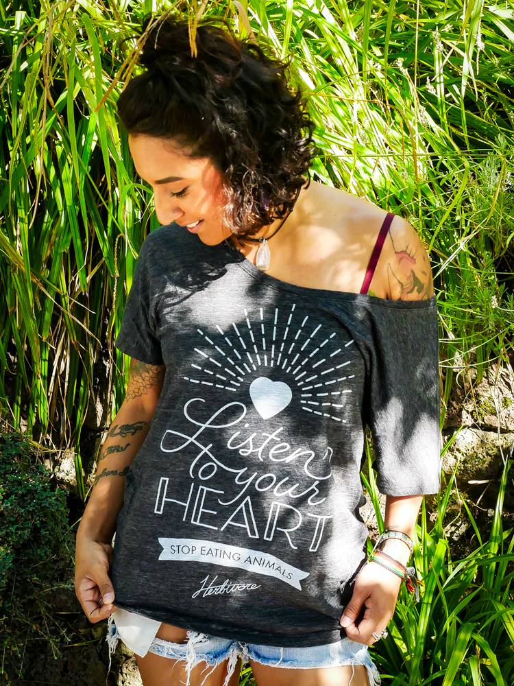 Listen to Your Heart Women's Black Slouchy Tee