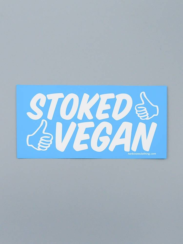 Stoked Vegan (Two Thumbs) Bumper Sticker