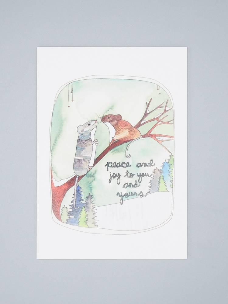 Peace and Joy Mice Holiday Card