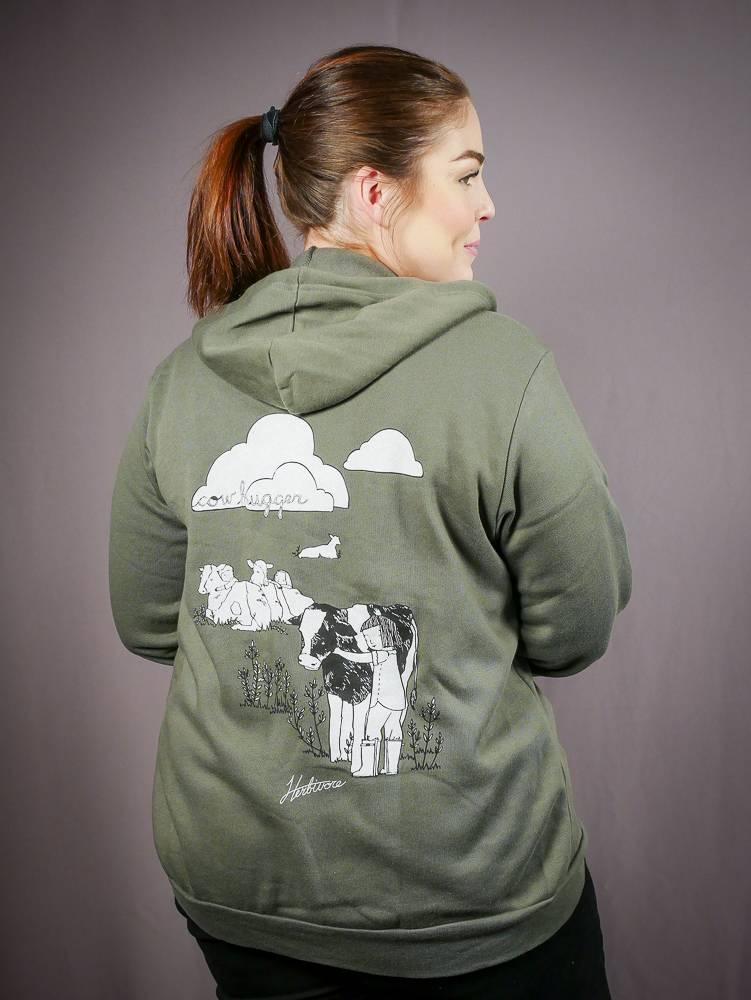 Cow Hugger Zip-Up Unisex Hoodie