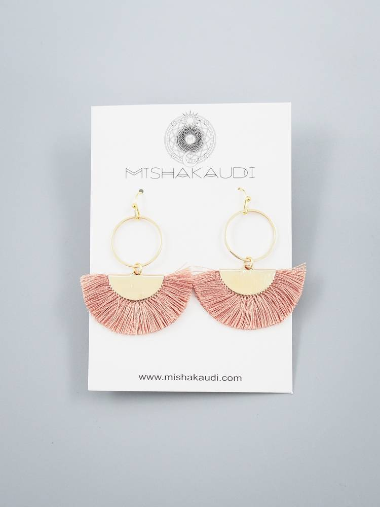 Fancy Mauve Fringe Earring by Mishakaudi
