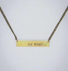 Be Kind. Bar With Heart Necklace by Mishakaudi