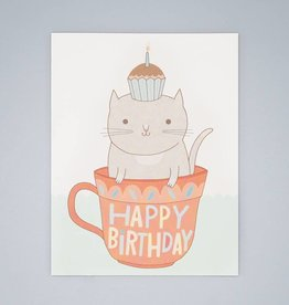 Teacup Cat Birthday Card