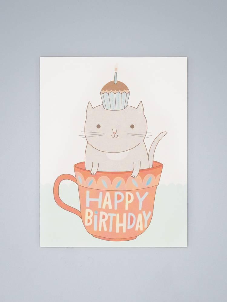 Teacup Cat Birthday Card