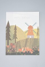 Windmill Foxes Birthday Card