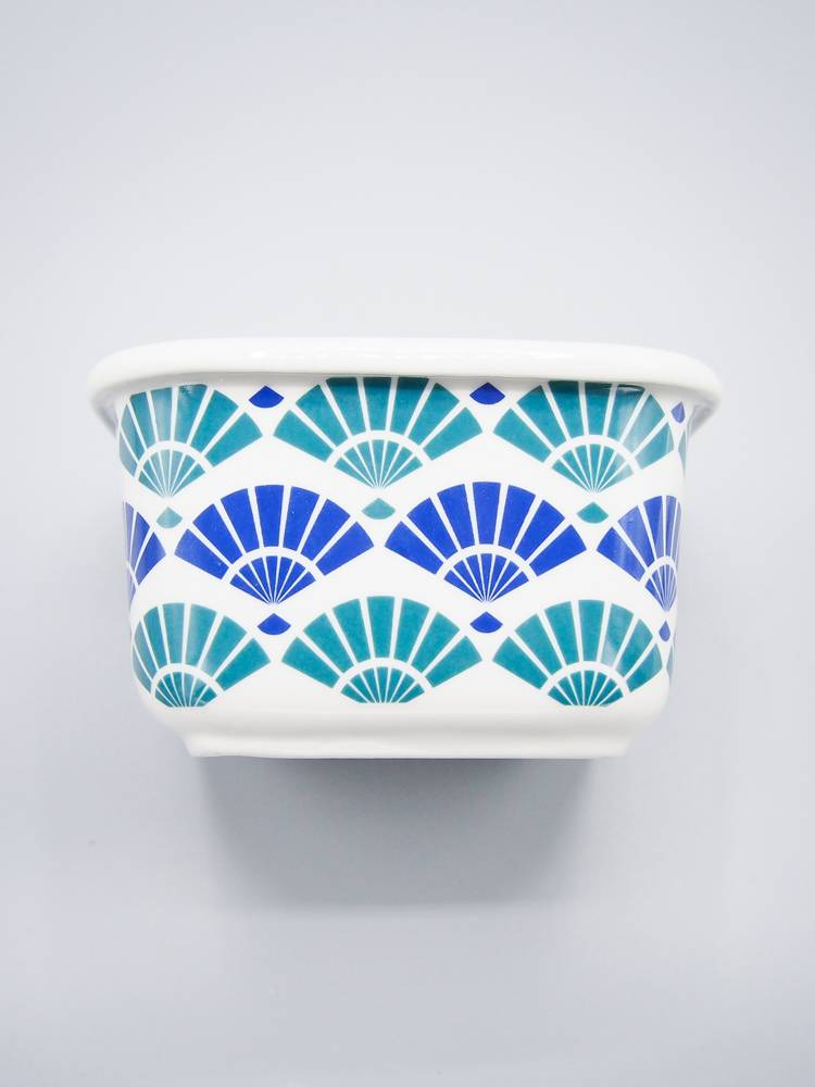 Now Designs Snack N' Serve Container - Blue Fans (4 inch)